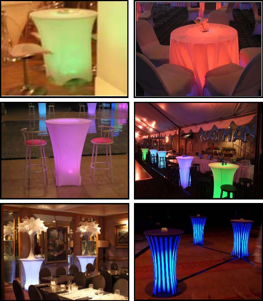 illuminated led tables - sitdowns and standups