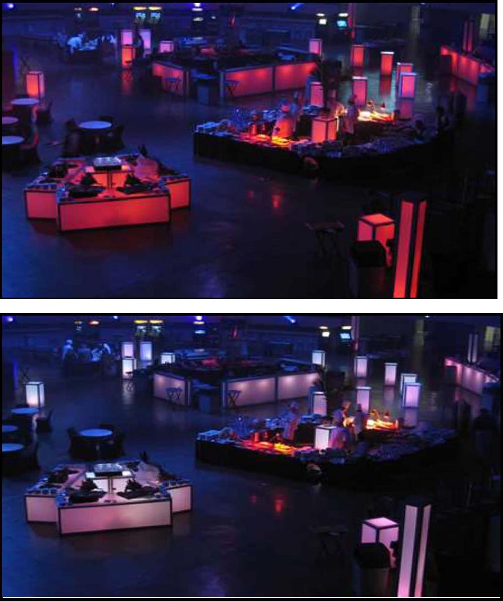 illuminated bars and columns and standups and buffets